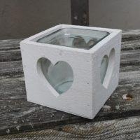 Dřevěná krabička na živou květinu, pod prstýnky, bílá