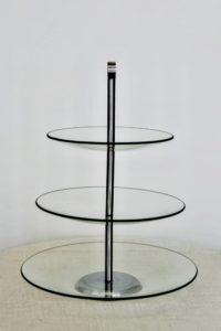 Etažér sklo 3 patra, prům. 30cm, v 39 cm