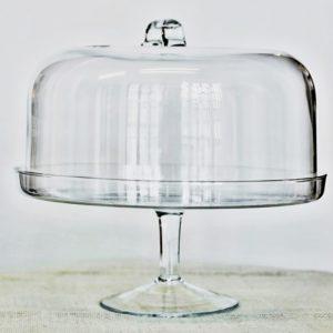 Podnos na dort s poklopem sklo, prům. 34 cm, v 29 cm